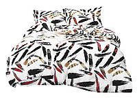 Комплект постельного белья Сатин Dalwin 134 M&M 4796 Белый, Черный, Красный