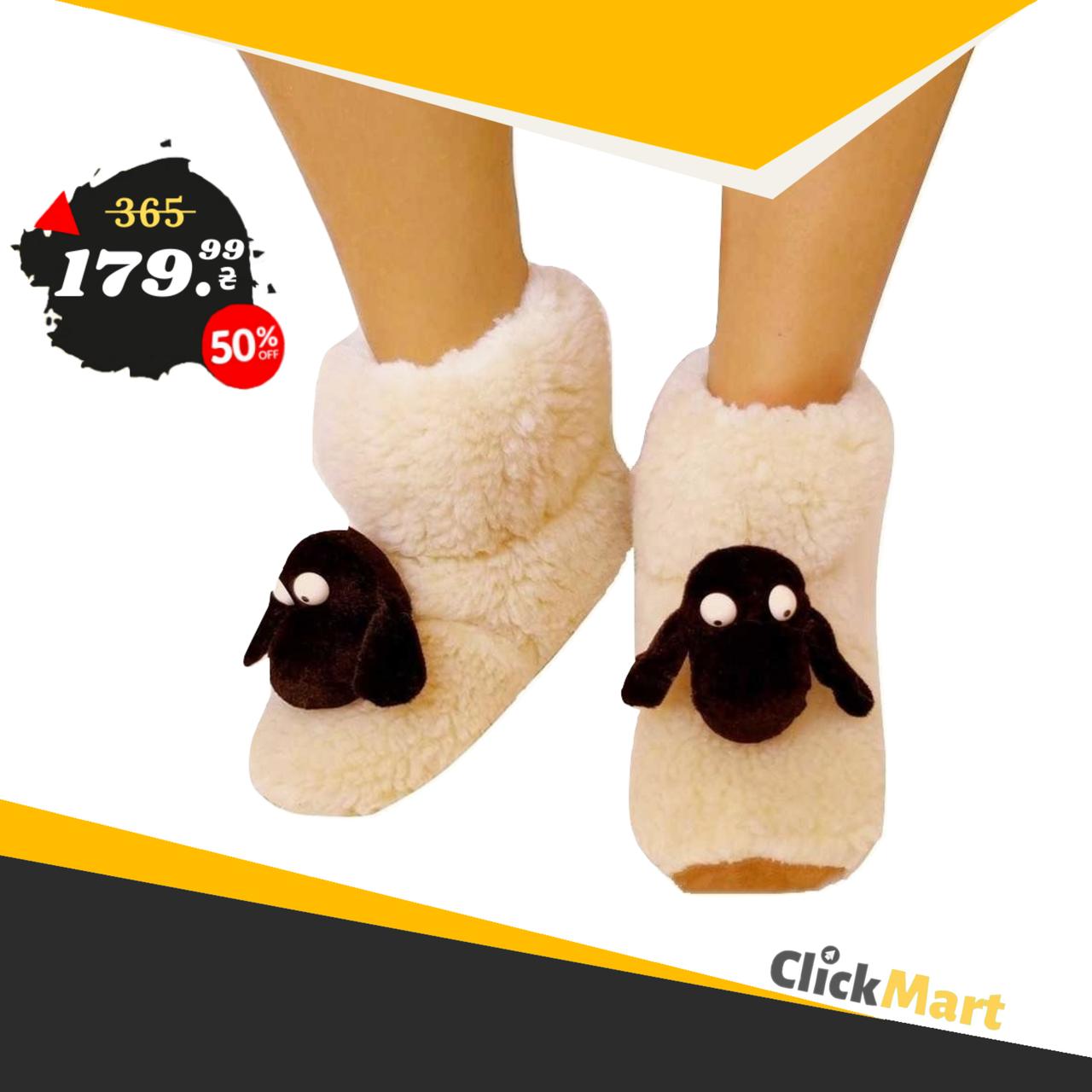 Меховые домашние тапочки Овечки Sheepskin Размер 34-35