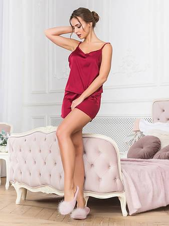 Бордовая пижама топик и шорты шелковая, фото 2