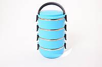 Ланч бокс термос для еды пластиковый с железной колбой 4 секции 3.0 л C-128 Lunch Box Голубой (005735)
