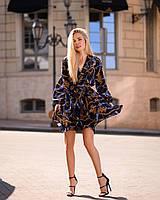 Стильное летнее платье, (40-46рр), принт цепи на темно-синем, фото 1