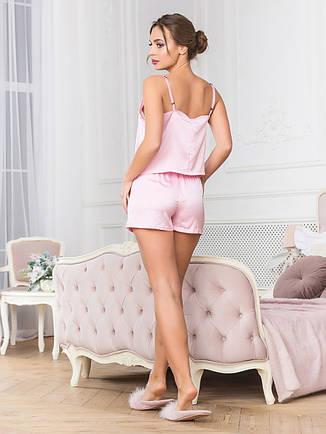 Рожева шовкова піжама з шортами, фото 2