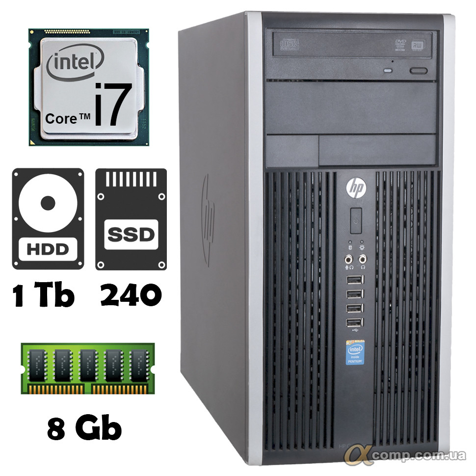Компьютер HP 6300 (i7-2600S/8Gb/1Tb/ssd 240Gb) БУ