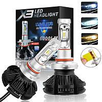 Светодиодные LED лампы X3 H4 для автомобиля | автолампы HEADLIGHT 8000K/6000Lm | автомобильные лед лампы