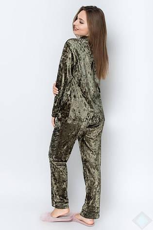 Піжама велюр сорочка і штани кольору хакі, фото 2