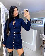 Костюм стильный джинсовый укороченный пиджак и мини юбка Kf1144