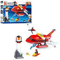 Конструктор SLUBAN   пожарный,маяк,вертолет,скутер,фигурка,348дет,кор,43-29-7см
