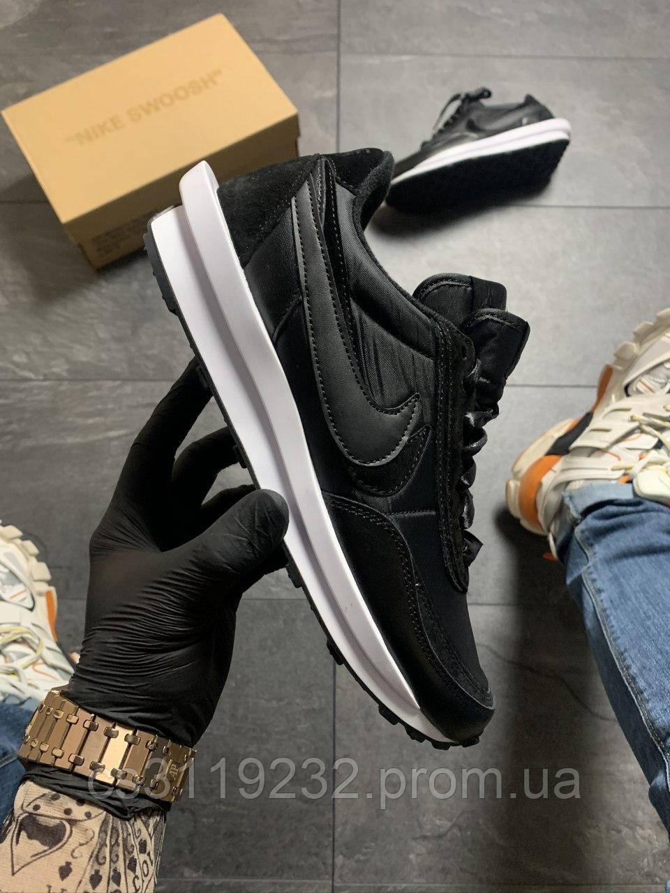 Мужские кроссовки Nike LD Waffle Sacai Black White(черные)