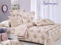 ✅ Двуспальный Евро комплект постельного белья (Ранфорс) TAG Букет роз