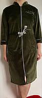 Женский халат велюровый на замке большого размера, фото 1