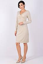 Коктейльне плаття прилеглого силуету з трикотажу з люрексовою ниткою, з V-подібним вирізом, довжиною до колі