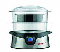 Пароварка  SATURN ST-EC0104  (2 секции, 9 л, 800 Вт, электроника, основание-- нерж. сталь)