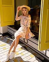Стильное летнее платье, (40-46рр), принт мелкие цветы на розовом, фото 1