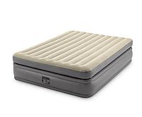 Двухспальная надувная велюровая кровать Intex 64164 (152 х 203 х 51) + встроенный электрический