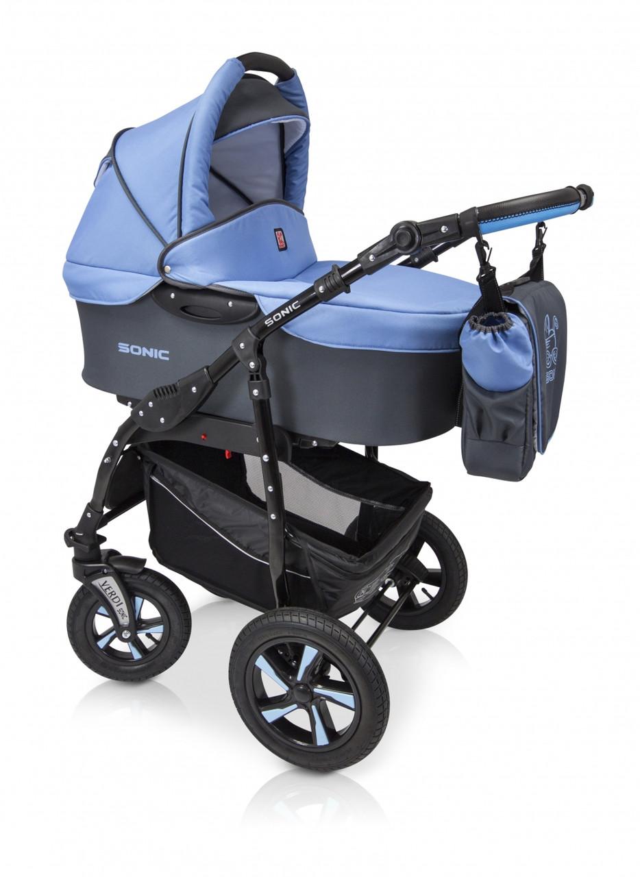 Детская универсальная коляска 3в1 Verdi Sonic 08 с пружинной амортизацией, 0-36 месяцев, голубой