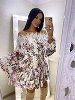 Платье женское нежное красивое из шелка с кружевом разные расцветки Smf4102