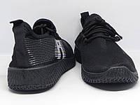 Кроссовки мужские сетка черные на шнурках на черной подошве