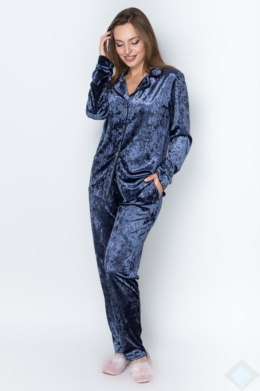Велюровая пижама женская цвета джинс