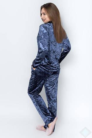 Велюровая пижама женская цвета джинс, фото 2