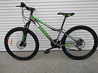 """Горный спортивный велосипед Azimut Forest 26""""D стальная рама 14"""" 21 скорость собран в коробке серо-зеленый"""