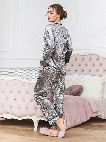 Пижама из бархата рубашка и штаны серая, фото 2