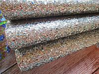 Экокожа (кожзам) с крупными блестками на тканевой основе, СЕРЕБРО, 20х30 см