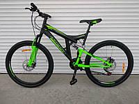 Горный двухподвесный велосипед Azimut Power 26 D ( 19,5 рама) черно-салатовый 85% собран.в коробке