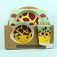 Посуда детская Животные бамбук 5пр/наб (2тарелки, вилка, ложка, чашка)