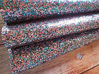 Экокожа (кожзам) с крупными блестками на тканевой основе, РОЗОВЫЙ+ГОЛУБОЙ, 20х30 см