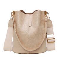 Новинка! Женская сумка - мешок из кожи крокодила с ручкой на плечо и ремнём