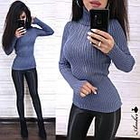 Женский гольф в рубчик машинной вязки с узорами на груди 804819, фото 4