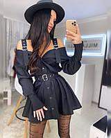 Платье туника женское мини с открытыми плечами и поясом Smf4103