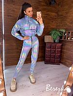 Спортивный женский костюм из плащевки хамелеон с карго штанами и укороченным бомбером 6605859E