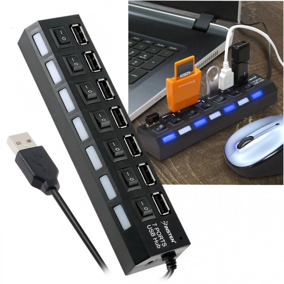 Разветвитель USB HUB (хаб, концентратор) 7 портов черный