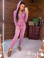 Велюровый женский брючный костюм с манжетами на штанах и укороченным топом на молнии 6610494E