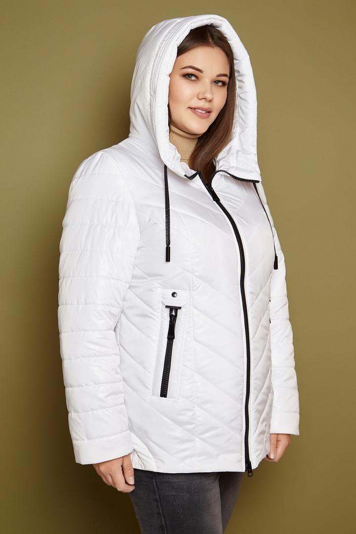 Стеганная женская куртка в больших размерах весенняя с капюшоном 3115534