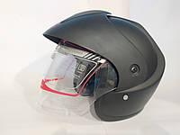 Мото шлем открытый черный матовый XYZ