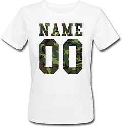 Женская именная футболка - Military (принт спереди) [Цифры имена/фамилии можно менять] (50-100% предоплата)