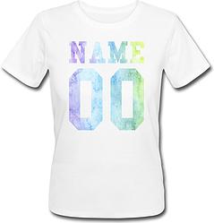 Женская именная футболка - Multicolor (принт спереди) [Цифры имена/фамилии можно менять] (50-100% предоплата)