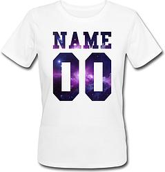 Женская именная футболка - Space (принт спереди) [Цифры имена/фамилии можно менять] (50-100% предоплата)
