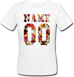 Женская именная футболка - Flowers (принт спереди) [Цифры имена/фамилии можно менять] (50-100% предоплата)