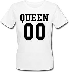 Женская именная футболка QUEEN (принт спереди) [Цифры можно менять] (50-100% предоплата)