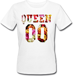 Женская именная футболка QUEEN - Flowers (принт спереди) [Цифры можно менять] (50-100% предоплата)