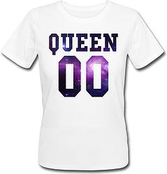 Женская именная футболка QUEEN - Space (принт спереди) [Цифры можно менять] (50-100% предоплата)