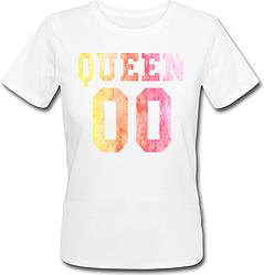 Женская именная футболка QUEEN - Multicolor (принт спереди) [Цифры можно менять] (50-100% предоплата)
