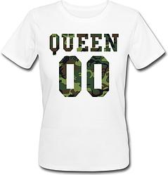 Женская именная футболка QUEEN - Military (принт спереди) [Цифры можно менять] (50-100% предоплата)