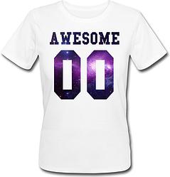 Женская именная футболка Awesome - Space (принт спереди) [Цифры можно менять] (50-100% предоплата)