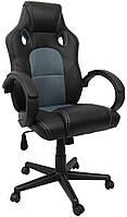 Геймерское кресло игровое для приставки проффесиональное кожаное, геймерский стул компьютерный игровой серый