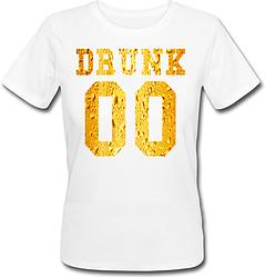 Женская именная футболка DRUNK - Beer (принт спереди) [Цифры можно менять] (50-100% предоплата)