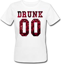 Женская именная футболка DRUNK - Wine (принт спереди) [Цифры можно менять] (50-100% предоплата)
